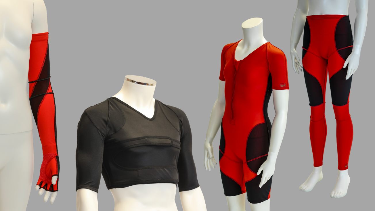Image of dynamic movement orthoses: glove, vest, suit and leggings